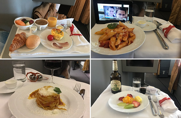 Alitalia business class ontbijt breakfast diner lunch